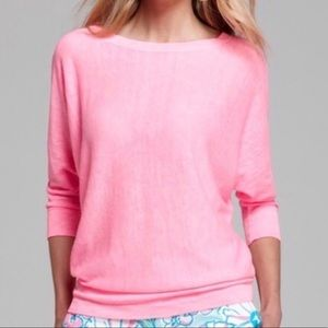 Lilly Pulitzer Pink Bess Linen Dolman Sweater| S